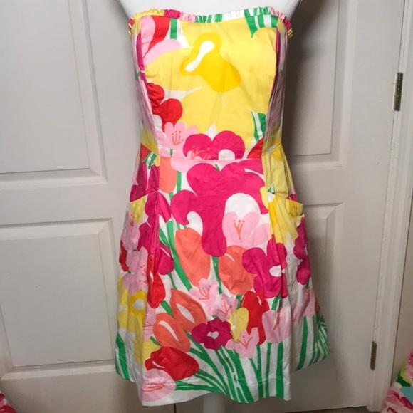 Lilly Pulitzer Lavish Lilly's Blossom Dress 8 EUC